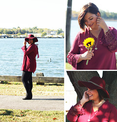 Jaclynn Brennan - Umgeeusa Lace Bell Sleeved Tunic Dress, Forever 21 Basic Leggings, Freida Rothman Fluer De Lis Necklace, Charlotte Russe Floppy Chain Hat, Enzo Angolini Zipper Booties - Wine Me Up & Watch Me Go