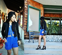 Kimberly Anne S. - Ebay Bowler Hat, Forever 21 Cropped Blazer, Pink Manila Cut It Out Romper, Zara Ankle Boot Cut Out - Cut It Out!