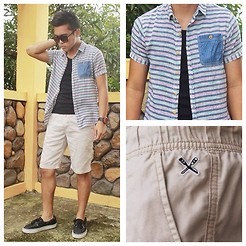 Ged Gumatay - Regatta Khaki Shorts, Oxygen Button Down, Bench Tank Top, Vans Boat Shoes - Summer It Is