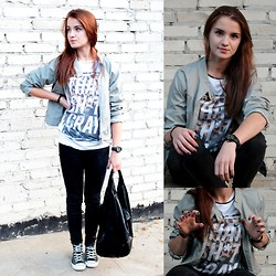 Iwona K. - Sh Grey Leather Jacket, River Island White T Shirt, Converse Black, Cropp Black Baggy Bag, Black Watch, Silver Necklace, Pull & Bear Black Jeans - Young ang Wild