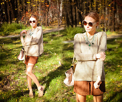 Lidia ♫♪♫ - Woakao Sweater, Dualshine Necklace, Chic Wish Bag, Choies Sunglasses - Could this be love