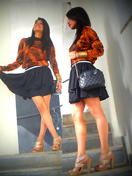 Ritika Khanna - Thrifted Sweater, Studded Bag, Forever New Skater Skirt - Fall<3