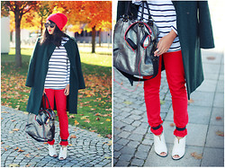 Naina Kamath - Asos Beanie, Thrifted Wool Coat, Hayden Harnett Metallic Leather Bag, Skullcandy Metallic Headphones, Tibi Leather Heels - Little Red Capping Hood