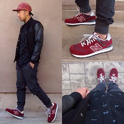 Daniel Vu - Zara Pleated Joggers, Cedar Wood State Black Varsity Jacket, Forever 21 Bicycle Print Shirt, New Balance 574, Obey Tribal Print 5 Panel Cap - Day 2 Joggers and Fly Kicks