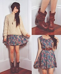 Natalie Jane - Vintage Cable Knit Sweater, Vintage Leather Boots, Vintage Floral Dress - Grandmas sweater