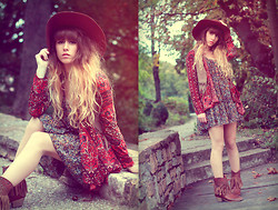 Alexe Bec - Only Dress, Hudson Shoes, American Apparel Floppy Hat, Urban Outfitters Cardigan - Boho.