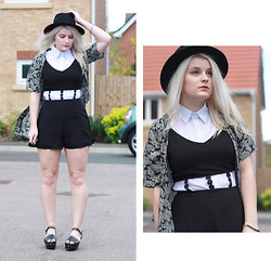 Robyn Mayday - Missguided Playsuit, Missguided Kimono, Ebay Fedora, Missguided Oversized Shirt - More of That Kimono