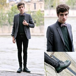 "Matthias C. - Church's Dark Green Derbies, Asos Black Skinny, Gap Dark Green Sweater, Tartan Bowtie - ""Nirvana"""