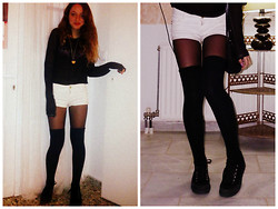 S.t.e.f.f.i.e - Knee Socks, Bershka White Shorts, Target Platform Sneakers - Black n white