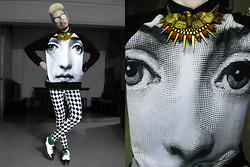 Andre Judd - Fonrasetti Print Sweater, Eagle With Spikes Pendant, Harlequin Print Trousers, Black And White Patent Brogues, Perforated Silver Screen Round Frames - EYE LOVE IT