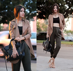 Adriana Gastélum - Oasap Trench, Windsor Cropped Top, 3.1 Phillip Lim Pashli Medium Satchel, Windsor Nude Sandals - Neutral tones