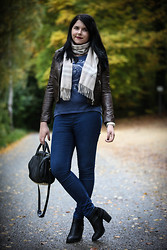 Elly E. - Burberry Scarf, Primark Jeans, Alexander Wang Bag, H&M Boots, H&M Jacket, Abercrombie & Fitch Shirt - Casual Sunday