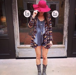 Elizabeth Anderson - Libby Story Hat, Free People Rosary Necklace, Free People Tank, Libby Story Cardigan, Steve Madden Boots - Fall favorites