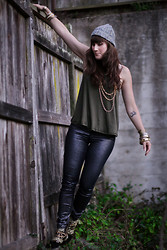 Jordan Jones - Free People Knit Beanine, Free People Tank, H&M Black Suede And Embellished Boots, Thrifted And Collected Jewelry - FP me Fall Challenge look # 2