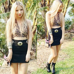 Caitlan Hammond - Leopard Print Halter Top, Concho Belt, Elephant Bag - I will follow you down