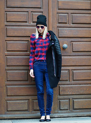 Coverstories.de - Forever 21 Hat, Mango Biker Coat, Rue 21 Plaid Blouse, Pull & Bear Jeans - Plaid me!