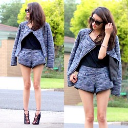 Bam It's Joanne - Tweed Jacket, Tweed Shorts, Alex Perry X Tony Bianco Heels - Matching Tweed
