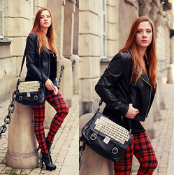Valentine S. ☽ - Stradivarius Tartan Leggins, H&M Jacket, Re Style.Pl Bag, Deezee Shoes - TARTAN #