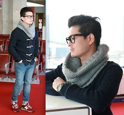 E. T. - Ray Ban Eyeglasses, H&M Scarf, Seiko Watch, H&M Knitted Jacket, Topman Skinny Jeans, New Balance Sneakers - Strange Talk