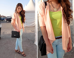 Kim Anne C - Sheinside Baby Pink Draped Blazer, Choies Lion Head Necklace - Logos Hope