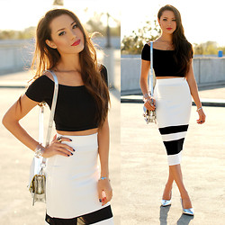 Jessica R. - Shoppiin Black And White Skirt, Dailylook Holographic Bag, Choies Holographic Heels, Asos Black Crop Top, Smooch The Label Crystal Bracelet - Hologram Haze