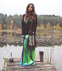 Muzzy Stardust - Bershka Maxi Sequin Skirt ( Dressy Collection 2013), Spell And The Gypsy Collective Dreamweaver Bag - Daydream