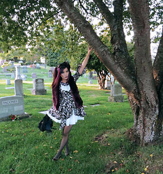 La Carmina - LaCarmina.com - Holt Renfrew Eggplant Purple Faux Fur Scarf, Chuchu Bangkok Flower Gothic Lolita Dress, John Fluevog Purple Green Shoes - Goth girl in a graveyard: Bruce Lee, Brandon Lee cemetery.