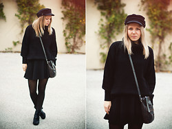 Lena R.F. - H&M Hat, Gina Tricot Knit, H&M Skirt, Pieces Purse, Cheap Monday Boots - Tell me you want that feeling