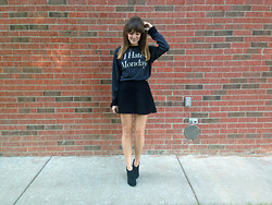 Niki Adams - Wildfox Couture Sweater, American Apparel Skirt, Aldo Booties - I Hate Mondays.