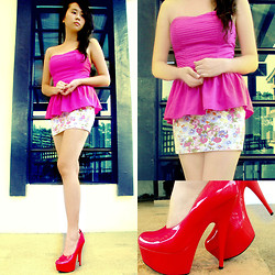 Jeraldine Yumang - Forever 21 Top, Forever 21 Florals, Forever 21 Pumps - Plains and Prints