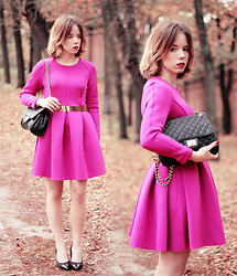 Wioletta Mary Kate - Choies Dress, Sarenza Shoes, Marc B Bag - Fuchsia Dress // FASHION WEEK DAY 1