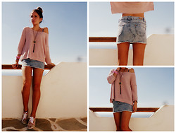S.t.e.f.f.i.e - Bershka Mini Skirt, Bershka Pink Sweater, Floral Sneakers - Pinky day
