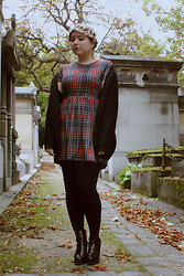 Katia - Lazy Kat - New Look Tartan Dress, New Look Knit Boyfriend Cardigan, Eleven Paris Lauper Boots - Père Lachaise