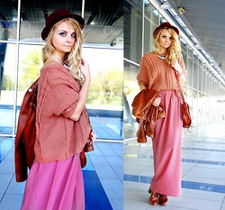 Violetta Privalova - Sheinside Sweater, New Look Skirt, River Island Boots, Asos Bag, Top Secret Hat, Neohit Jacket - Shades of Autumn