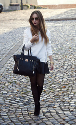 Aliz M - H&M Skirt, Mango Sunglasses, La Moda Bag - MONOCHROME