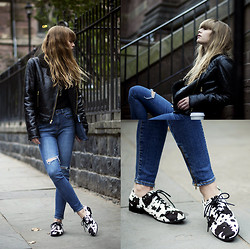 Lisa Dengler - Buffalo Jeans High Waisted, Rachel Roy Shearling Jacket, Shellys London Cow Shoes - We're all animals