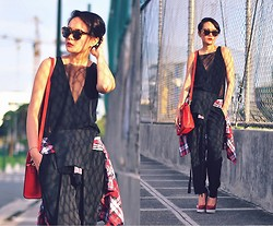 Kookie B. - Mesh V Top, Céline Nano Coquelicot, Stella Mccartney Red Pumps - Mesh & Overalls