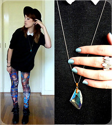 Joosje S - Six Iridescent Pendant, Sixx Crystal Ring, H&M Black Hat, Pieces Oversized Charcoal Sweater, H&M White Sleeveless Shirt, Romwe Glass Leggings, Zara Studded Motorboots - Ain't no preacher