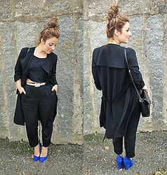 Cátia Barge - H&M Trench Coat, Zara Shoes, Mango Belt - Royal Blue