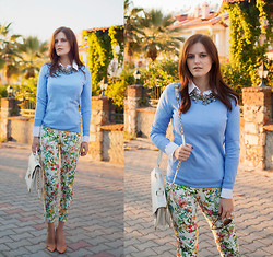 Viktoriya Sener - Gap Blue Jumper, Zara Necklace, Zara Floral Pants, Forever New Bag, Zara Nude Pumps - SKY BLUE