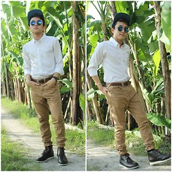 Leo Miguel Rivera - Chancellor Button Down, Bench Pants, Milanos Boots, Oxygen Snapback, Greenhills Shades - Going Basic