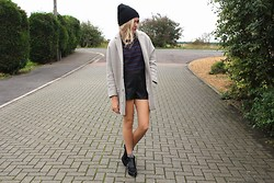 Charmaine Cowland - Topshop Boyfriend Coat, Topshop Black Boots, Urban Outfitters Leather Shorts, Shelikes Tartan Top - 231013