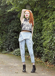 Olivia Emily - Romwe Crop Top, Love Clothing Acid Wash Ripped Dungarees, Dr. Martens Boots - Lazy Sunday.