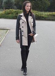 Cindy, Fashion blogger on www.glamour-blog.com - Jennyfer Trenchcoat, Zara Trousers, Zara Boots - High knee boots.