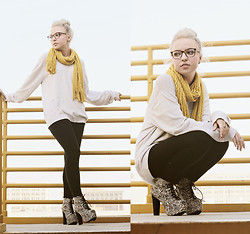 Brittany Leland - Bcbg Yellow Knit Scarf, 21men Knit Sweater, Black Leggings, Jeffrey Campbell Tribal Print Heels, Oliver Peoples Glasses - Sea of Air