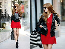 Seung Yeon - Itsmestyle Hood Leather Blazers, Itsmestyle Party Knit Sleeveless Ops - Sexy walk