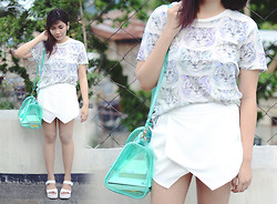 Marion Uy - Zara Skort, Forever 21 Cat Shirt, Jessica Buurman All White Platforms, Transparent Bag - White Cat!