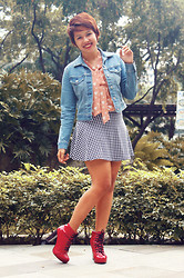 Angeline Rodriguez - Asos Heart Top, Uniqlo Blue Denim Jacket, Copper Houndstooth Skirt, Chick Flick Red Boots - To stop, to lie down and to sleep for a hundred years.