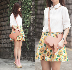 Mayo Wo - Jovonnista Charlie Shirt, Asianicandy Pony Bag, American Apparel Sunflower Skirt, Charlotte Olympia Beige Heels - Vincent