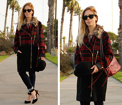 Melissa P. - Boohoo Plaid Coat, Luichiny Ankle Strap Heels, Rebecca Minkoff Swing Bag, Merona Leopard Tee Shirt - Oversized Overcoat